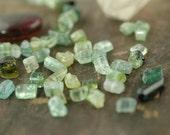 "Fancy: Watermelon Tourmaline Stick Beads / 10 Beads, 4x8mm, 1 3/4"" / Pink, Green, Natural Gemstone / Organic, Earthy Jewelry Making Supplies"