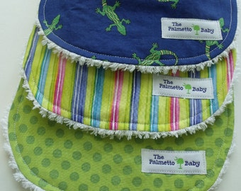 Baby Boy Bibs - Set of 3 - Lizard  Collection Chenille Backed Burp Cloths