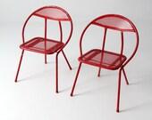 SALE mid century metal folding chairs / Salterni-style patio chairs