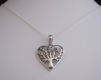 TREE of LIFE heart sterling silver pendant with chain, Love, friendship, family necklace