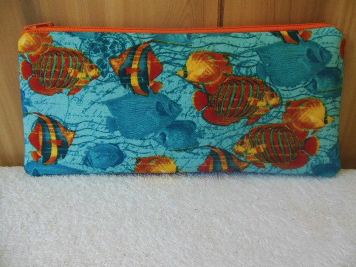 Tropical fish pencil case cosmetic pouch ready to ship for Fish pencil case