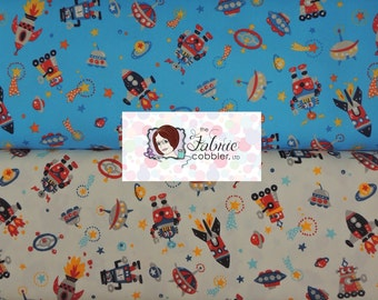 Kokka Robots and Rocket ships in Space - BTY cotton fabric - Japanese - Choose your cut and colorway