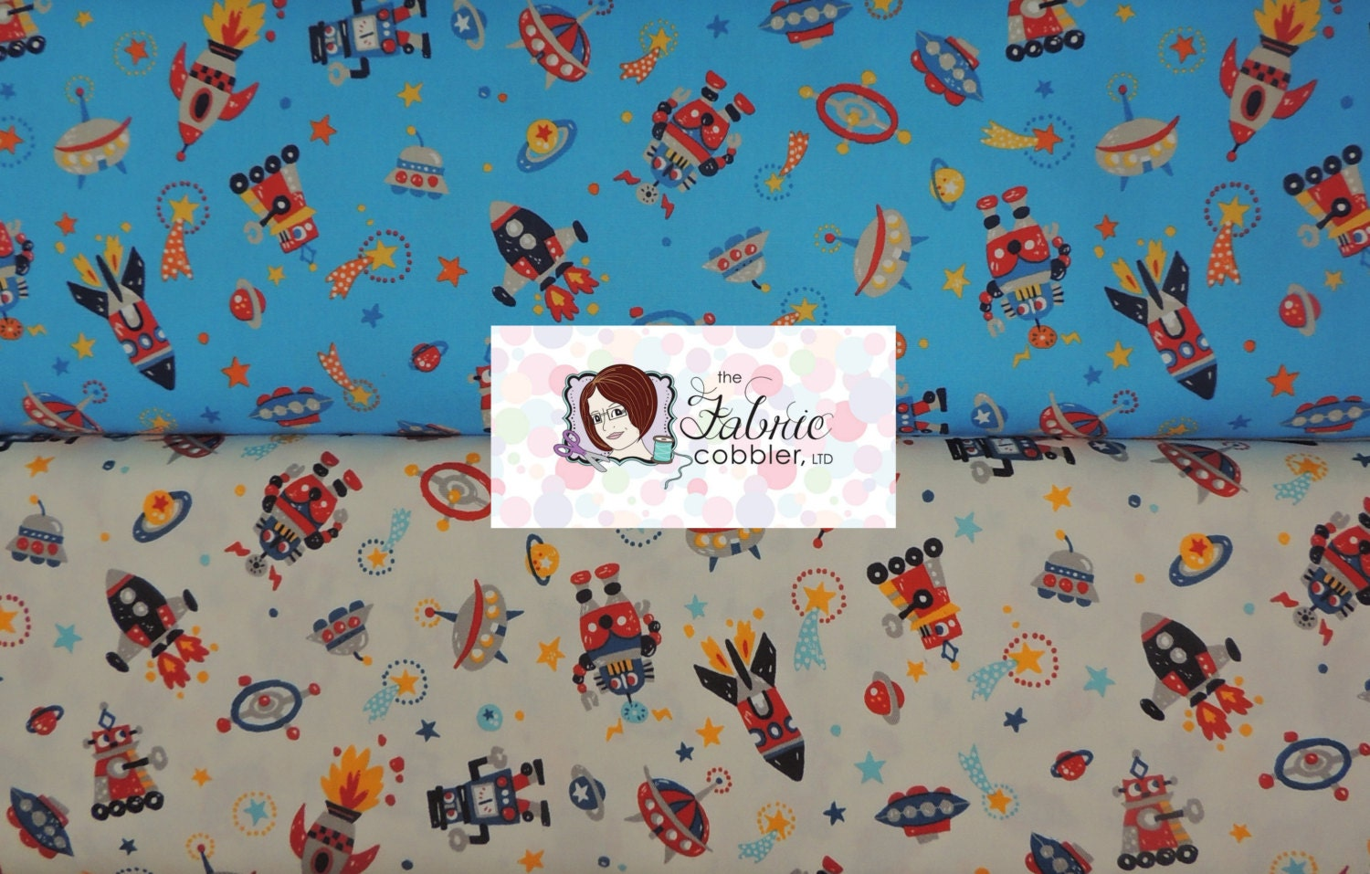 Kokka robots and rocket ships in space bty cotton fabric for Space cotton fabric