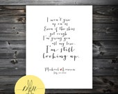 "Lyrics - Jason Mraz ""I won't give up"" Personalized Keepsake - Great for wedding - Anniversary - Personalized Art Print"