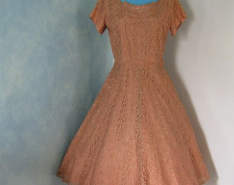 50s Chantilly Lace Dress with Beads and Rhinestones - Miss Bea-Tween