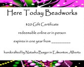 Gift certificate for 20 dollars