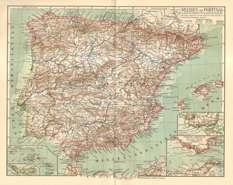1909 Original Antique Map of Spain and Portugal