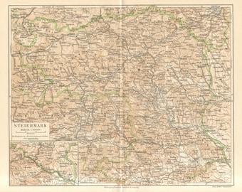 1890 Original Antique Map of Styria or Steiermark, Austria