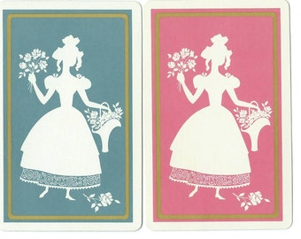 Vintage Single Swap Playing Cards (1 pair) Paper Epherema Scrapbook Supplies Collectible