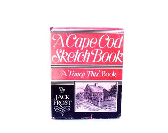 Vintage Cape Cod Sketch Book Red Antique Book 1930s Olde Cape Cod Nautical Seascape Beach Cottage Illustrations