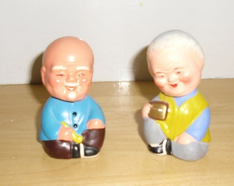 Vintage Oriental Man and Woman Nodder Figures Early Bobbleheads Made from Clay
