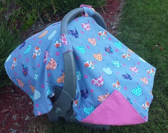 Baby Car Seat Canopy and Matching booties - Baby Bird