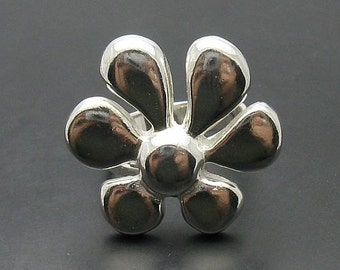 R000268 STERLING SILVER Ring Solid 925 Flower Adjustable Size