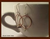 Silver Earrings/ Copper Hoop/ Small Silver Earrings/ Vintage Silver/ Recycled Silver/ Mixed Metal Earrings- E-727