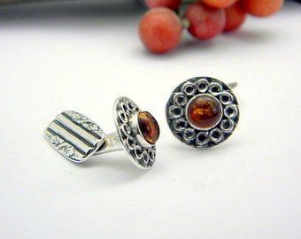 Sterling silver cufflinks antique style amber stone ,men's accessories cuff links ,art nouveau style