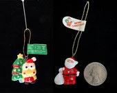 Sanrio Keroppi with Xmas Tree and Santa Ceramic Christmas Trinket/Ornament - 2 Trinkets - Vintage Sanrio 1988-1991 Japan