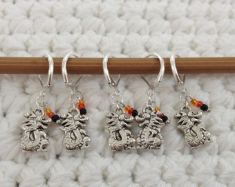 Removable Stitch Markers Dragons - 5 Red Dragon Stitch Markers for Crochet and Knitting