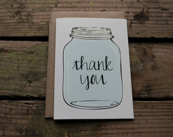 Mason Jar Thank You Cards with Envelopes / Wedding / Shower / Engagement / Set of 10 / Rustic or Country Outdoors Wedding