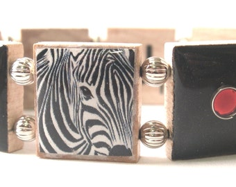Be Unique Zebra Scrabble Bracelet