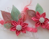 Coral & Mint Wedding Garter Set, Peacock Bridal Garters, Prom 2015, Coral Pink Garter, Mint Garters, Spring /  Summer / Beach Wedding