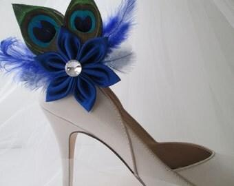 Royal Blue Wedding Shoe Clips, Bridal Blue Wedding Shoe Clips, Bride's Peacock Feather Shoe Clip Fastener, Royal Blue Bride Shoe Accessories