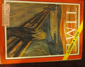 Collectible Time Magazine March 31, 1961 Munch Scream Art Cover Good - Very Good Condition Great Ads