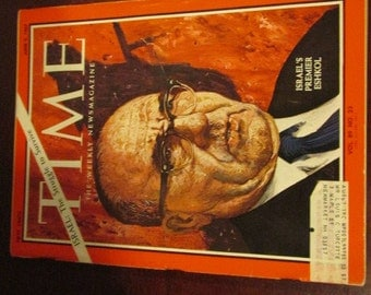 Collectible Time Magazine June 9, 1967 Israel's Premier Eshkol Cover Good - Very Good Condition Great Ads