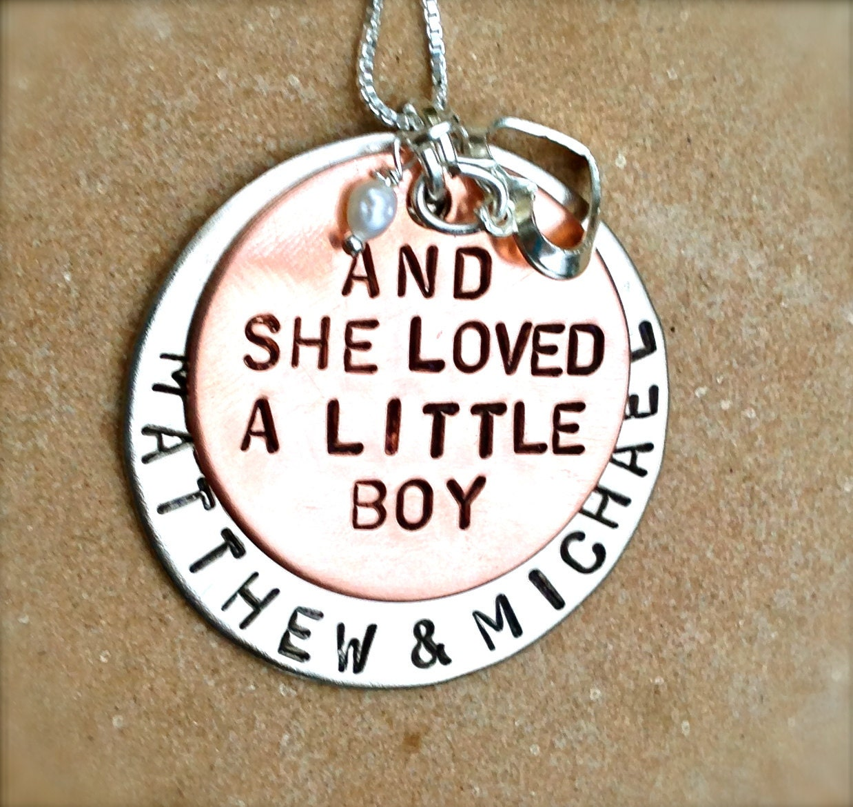 and she loved a little boy necklace personalized necklace