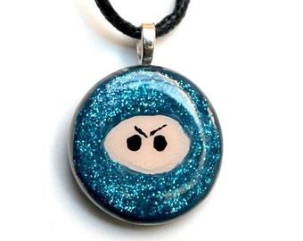 Hand Painted Blue Sparkle Ninja  Necklace