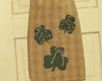 St. Patty's Day Primitive Tea Towel Hand Appliqued with 3 Shamrocks - St.Patrick's Day - Home Decor - Door Hanging - Wall Hanging