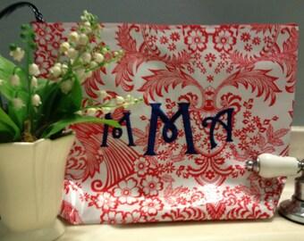 Large Cosmetic bag/ Makeup Bag/ Monogrammed Cosmetic Bag/ Bridesmaids Gift/ Bridal Party Gift/ Red Polka Dot Bag/ Waterproof Cosmetic Bag