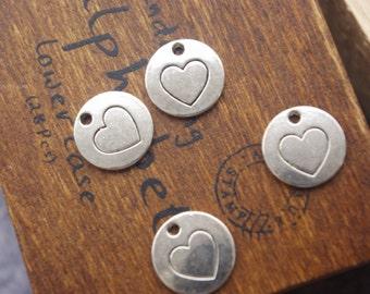 Bulksale-New Design SALE-must-have links-engraved heart disc  charms 30 pcs-F1104