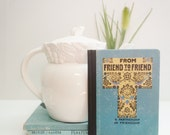 "Early 1900s hardback, ""From friend to Friend"", Small book on friendship, Art nouveau, Sky blue, Floral cover, Antique book, P.F. Volland"