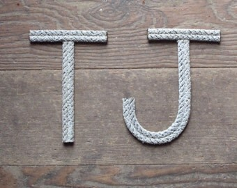 """6"""" Rope Letters Personalize Nautical Nursery  Kids Rooms Beach Wedding Natural or Green Rope Cowgirl Cowboy themes"""