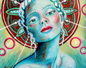 Blue Angel GREETING CARD - angel, mandala, spiritual art, goddess art, blue, teal, red, copper
