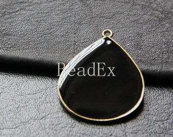2pcs / Teardrop / Black Enameled / Antique Brass Tone / Base Metal / Pendant (CB187//H159C)