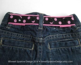 Toddler Girl Belt- Girls Black Pink Belt- Kids Elastic BELT- Baby Belt- Waist Cincher- Adjustable Belt- Childrens Belt- Polka Dot Belt