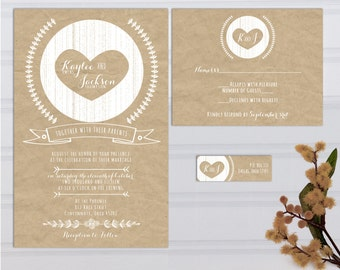 Kraft Paper Look Wedding Invitations with RSVP cards and address labels, Budget Invites, Sample Set