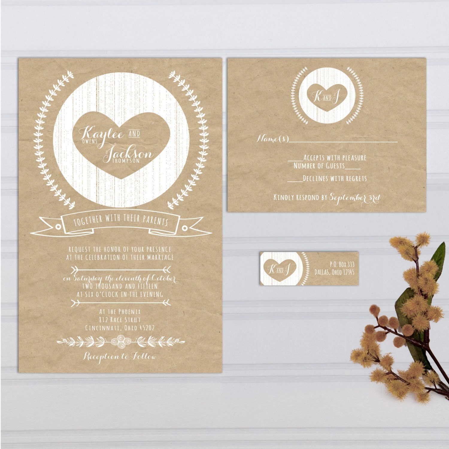 Kraft Paper Look Wedding Invitations with RSVP cards and address ...