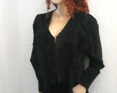 Black  Leather Suede Fringed Jacket and Skirt.