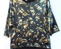 Vtg 90s metallic foil top blouse L large hi lo hem shiny clubwear evening wear Party Holidays Misses ladies shimmer polyester