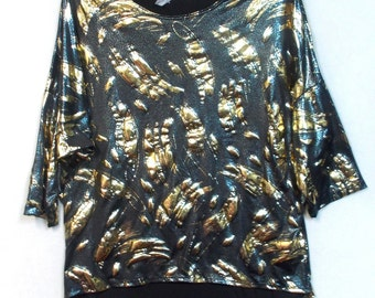 Vtg 90s metallic foil top blouse L large hi lo hem shiny clubwear evening wear Party Holidays Misses ladies shimmer polyester