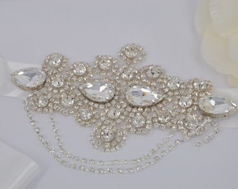 Esther-Rhinestone Bridal Belt, Sash
