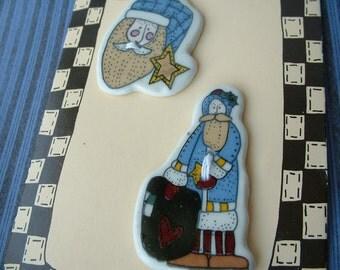 Christmas Santa Ceramic Buttons, Original card of 2, I have 7 cards left.