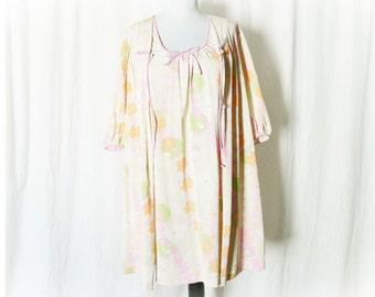 Vintage 60s Babydoll Nightie Robe Peignor Set S Mod Neon Floral