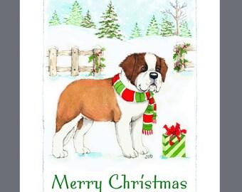 Saint Bernard Dog Christmas Cards Box of 16 Cards and Envelopes