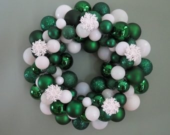 On SALE-- WINTER Pine CHRISTMAS Ornament Wreath with Snowflakes