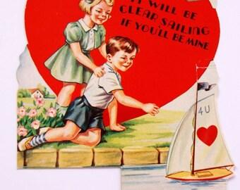 1950s Vintage  sweethearts with sailboat Valentine, unused