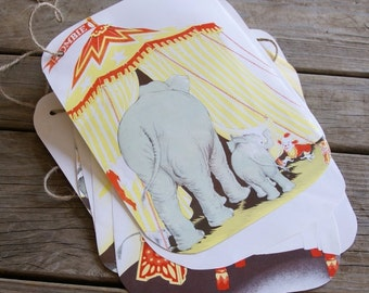 Handmade Vintage Children's Circus  Book Elephant Illustrations Banner Bunting