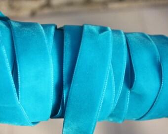 5 Yards = 4.57 Meters of Beautiful Aqua Velvet Ribbon